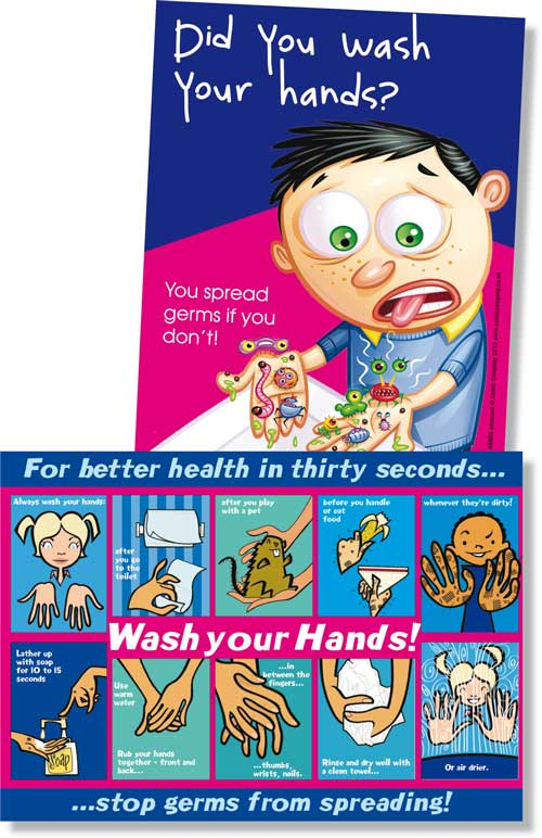wash your hands postcard