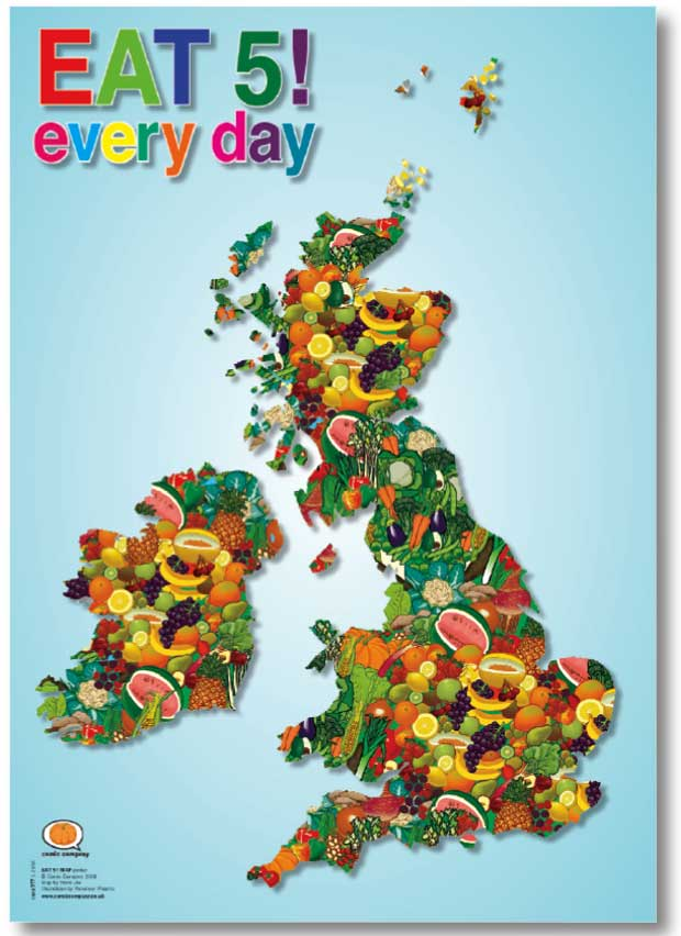from eat 5 a day eat 5 map posters a fun image that gently reminds us ...